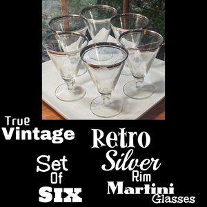 ▪️VTG▪️Set 6 Silver Rim Martini Cocktail Glasses